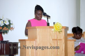 Principal, Ms. Cherry-Anne Walwyn delivering the school's report
