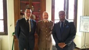 Minister of Foreign Affairs in St. Kitts and Nevis Hon. Mark Brantley meeting with Military Pharmaceutical personnel