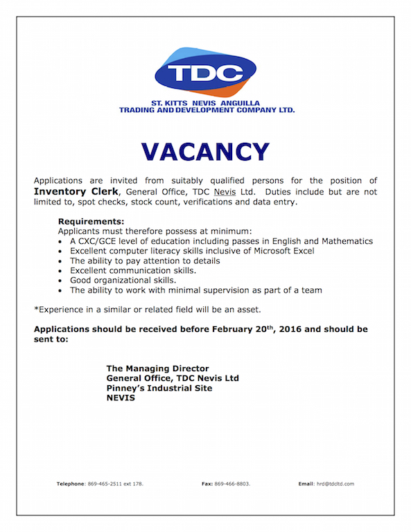 External Vacancy Notice Inventory Clerk, TDC Nevis ,February, 2016 copy