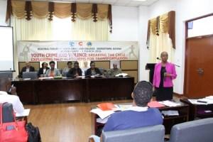 Ms. Myrna Bernard, Director, Human Development, CARICOM Secretariat, delivering a PowerPoint presentation