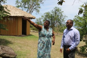 Deputy Premier of Nevis and Minister of Tourism Hon. Mark Brantley (l) and Patricia Thompson, Supervisor at the Nevisian Heritage Village at Fothergills during a tour on June 28, 2016