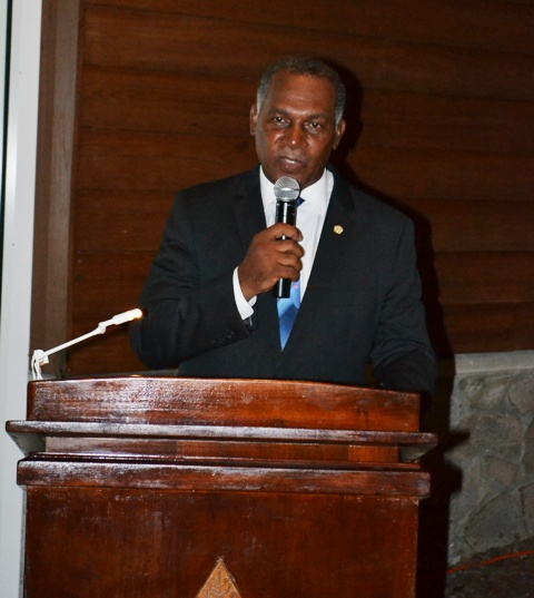 Premier of Nevis Hon. Vance Amory delivering remarks at the second annual Nevis Travel Symposium of Romance hosted by the Nevis Tourism Authority at a welcome reception held by the Premier's Ministry at the Four Seasons Resort on October 17, 2016