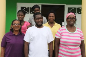 Staff of the Joycelyn Liburd Primary School's cafeteria (front row l-r) Administrative Supervisor Marion Lescott, head cook Shavon Lawrence, and Sandra Claxton. (Back row l-r) kitchen attendant Randelicia Chapman, cooks Tesheba Freeman and Sandra Hobson