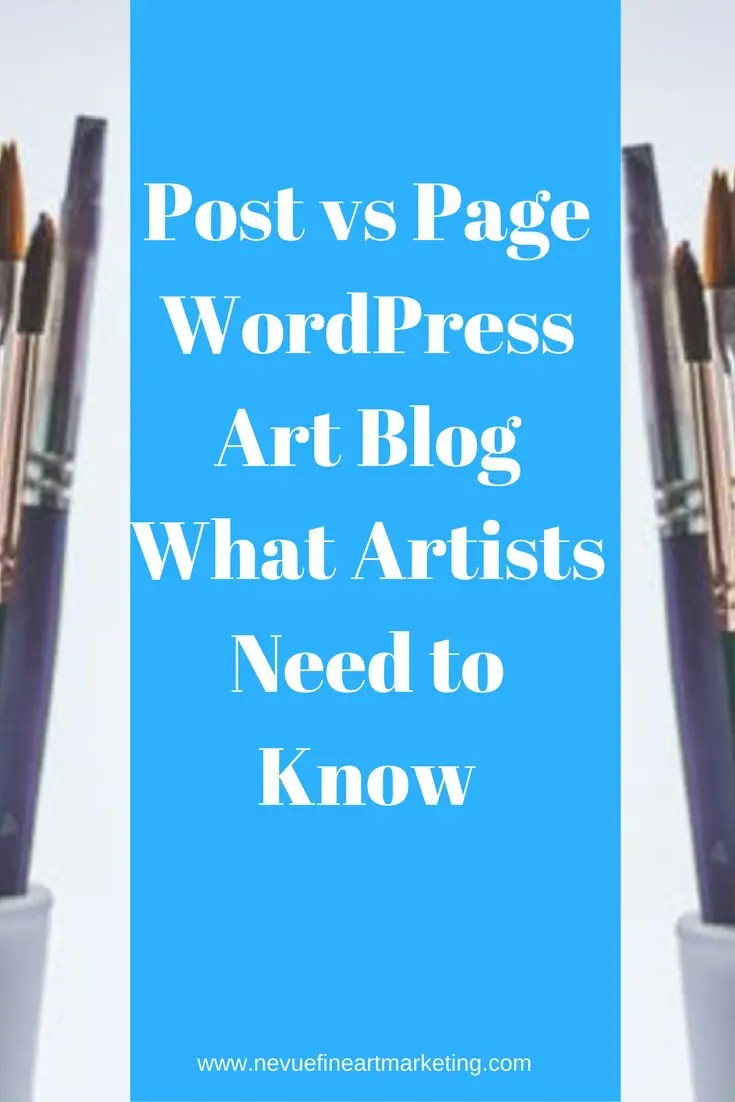 When you start your art blog in WordPress, you will notice that you can choose to write a post or page. The two are very different and are both beneficial to growing your art blog. Post vs page - what is the difference?