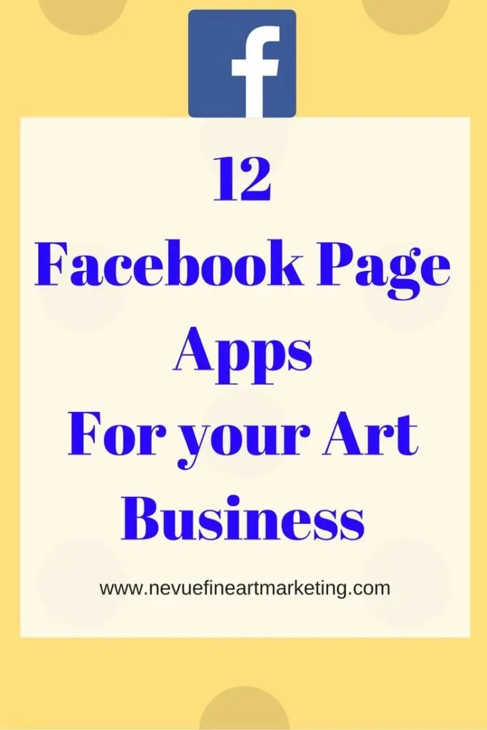 12 Facebook Page Apps for Your Art Business - Facebook Applications or Facebook Page Apps can help to make your Page more interesting for your Audience. You can add a storefront and sell directly from your Facebook Page, you can add an opt-in email form for people to join your newsletter, you can add your YouTube channel and so much more.