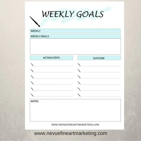 photograph about Goal Planners identified as Weekly Aims Printable