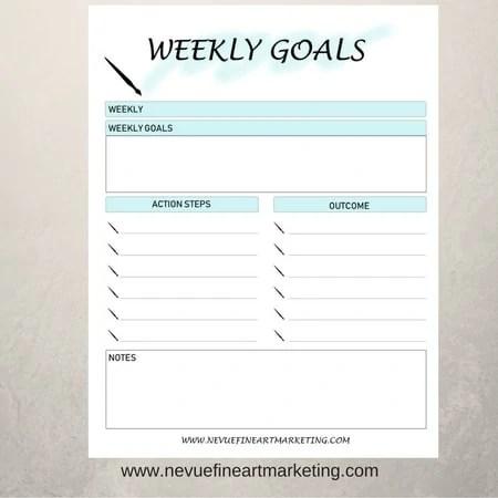 image regarding Goal Printable called Weekly Objectives Printable
