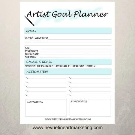 image regarding Goal Printable called Artist Objective Planner Printable