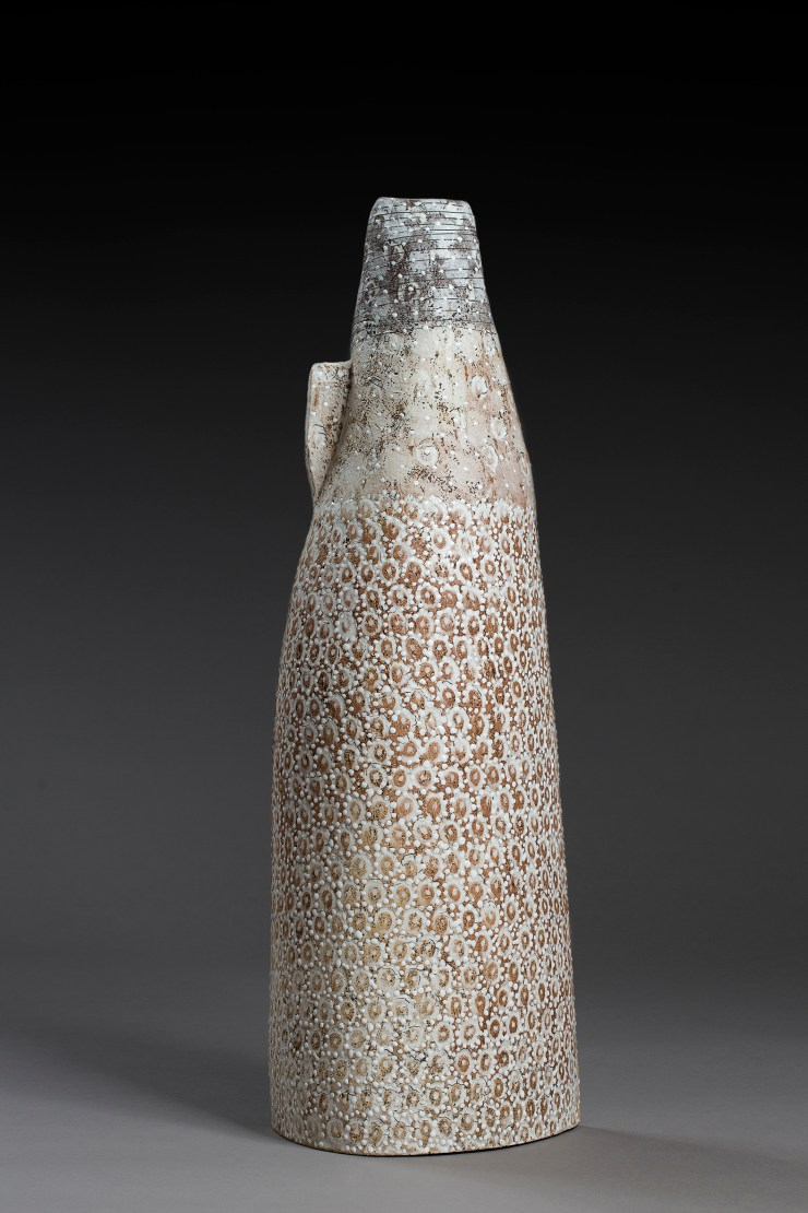 vessel, stoneware clays, pocelain inlays