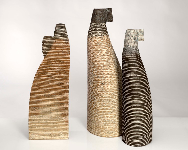 family, stoneware clays, pocelain inlays, 2018