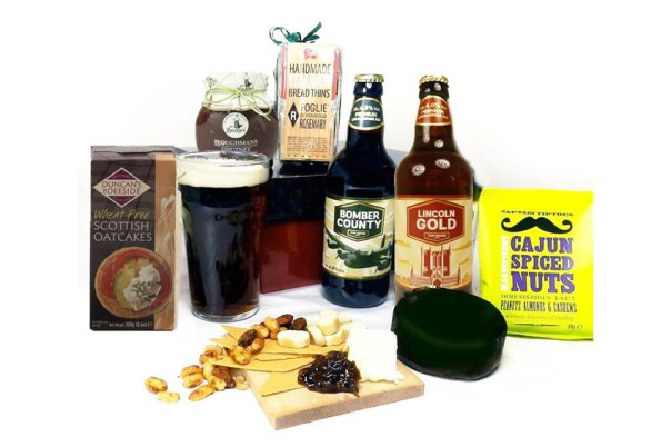 Cheese beer and nibbles hamper