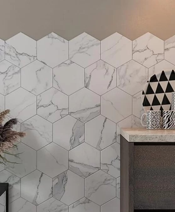 tuscany blanco white marble hexagon