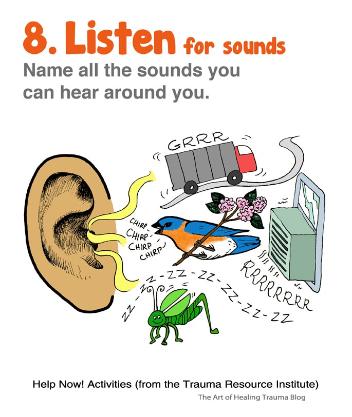 an ear is seen with different sounds entering it - a cricket, bird, truck and air conditioner make sounds