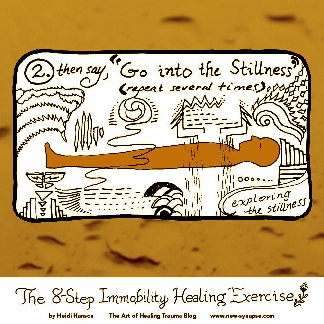 "drawing of a person lying down with the words ""Go into the Stillness; exploring the Stillness."""