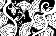 Breathe Coloring Page detail of tiny birds in branches with flowers and leaves