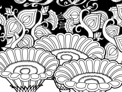Breathe Coloring Page detail of big flowers with flowering branches behind