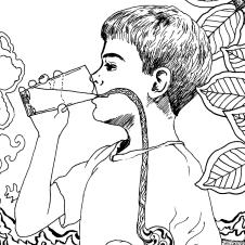 Drink Something Cold Grounding Activity Coloring Book Page detail of boy drinking a glass of water