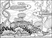 Fish Coloring Page with two big fish and one small fish swimming among seaweed, bubbles, waves and stones