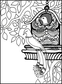 Grounding Exercise Feet, Seat, and Back Coloring Page birds in a bird house