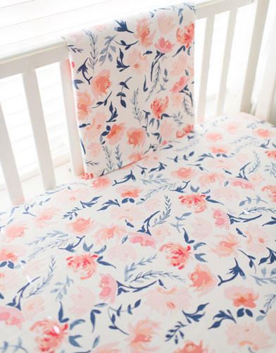 Peach Fl Crib Sheet Rosewater In Baby Bedding Collection
