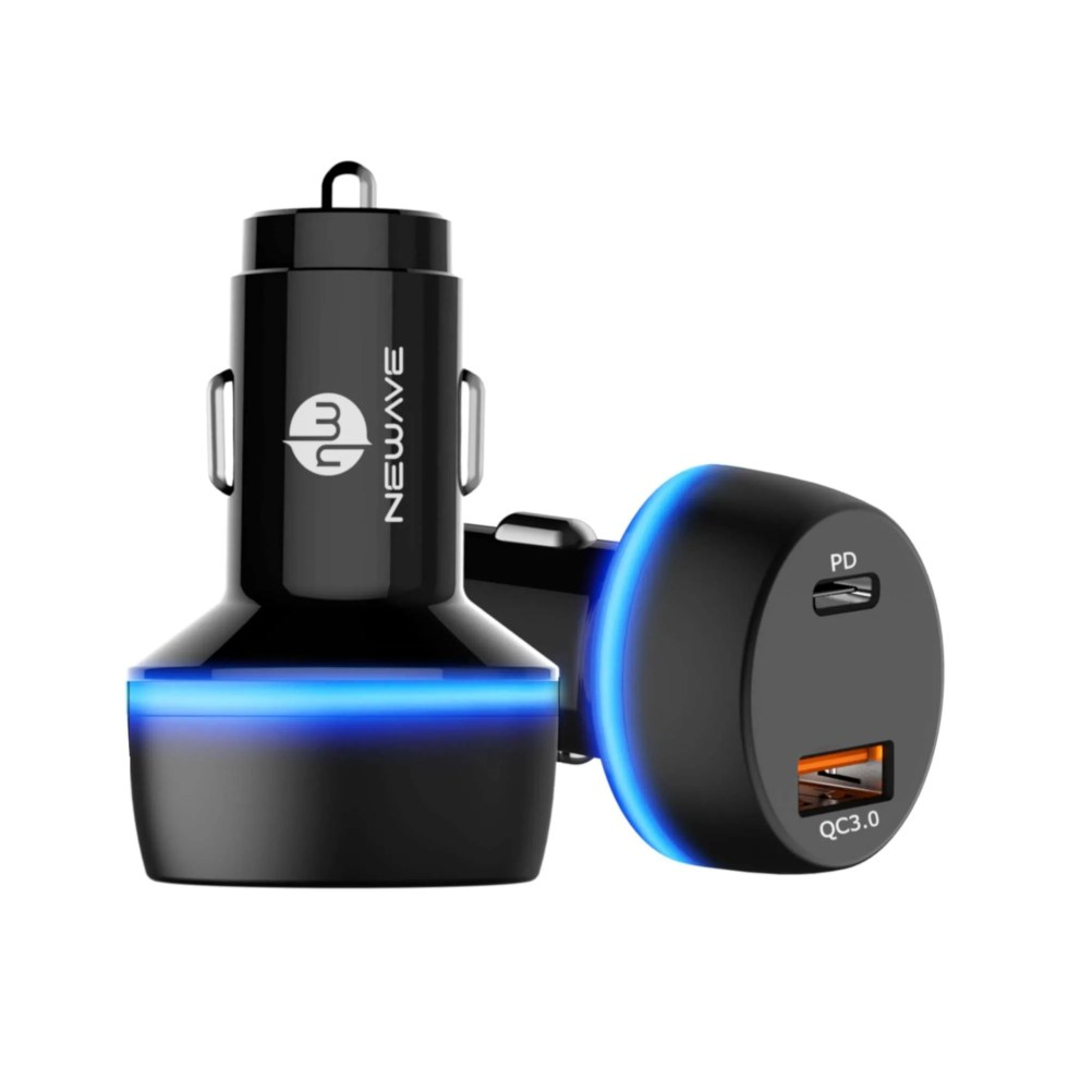 Newave 48W Pd 30W+Qc3.0 18W Dual Usb Fast Car Phone Charger Adapter With Led Ring
