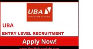 Entry/PRO Level United Bank for Africa Plc (UBA) Job Recruitment (12 Positions)