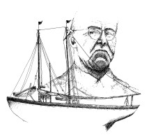 """A pioneer in the technology of fishing, Captain Dan Mullins introduced beam trawling, otter trawling, the double-headed winch and the Mullins freezer to the New Bedford industry. """"An Irisher with Daydreams,"""" as he once called himself, Mullins built several of his own boats. Pictured here is """"The Mary,"""" his 81' schooner built for dragging in 1919, lost at sea with all hands in 1934. Illustration by Elizabeth Rososky"""