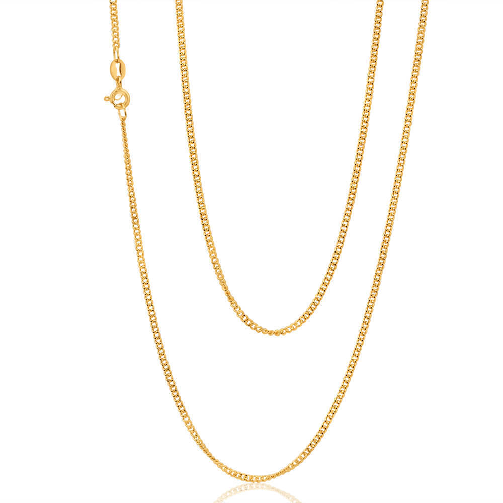 18 Inch 9ct Gold Diamond Cut Curb Chain Necklace 0348