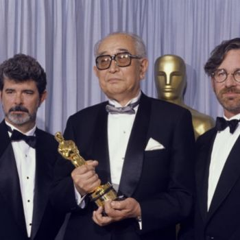 Akira Kurosawa The Honorary Award recipient with presenters George Lucas and Steven Spielberg/ courtesy Academy of Motion Picture Arts and Sciences
