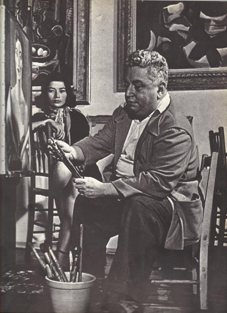 Di Cavalcanti in his studio, Rio, 1955