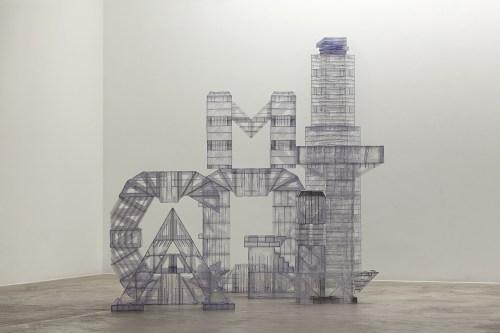 René Francisco, Untitled, Ciudad de nombres series, 2016, acrylic rulers, Galeria Nara Roesler/Photo: Everton Ballardin