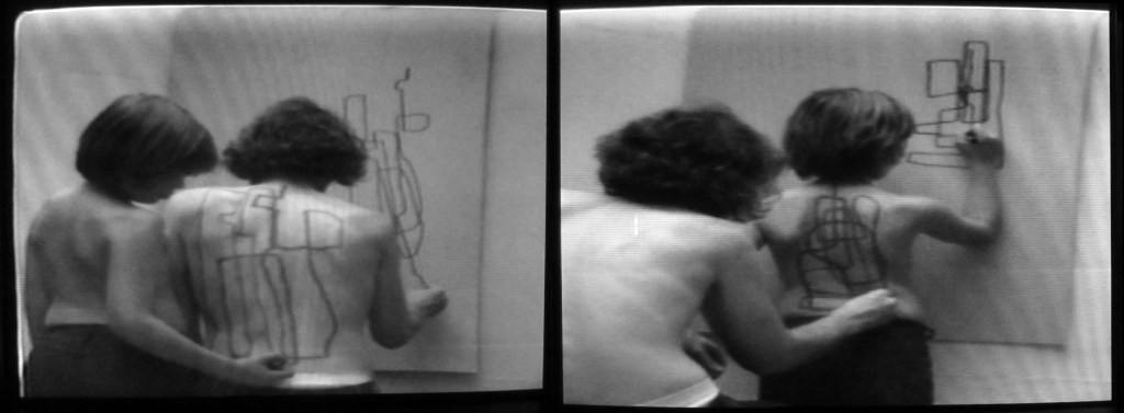 Dennis Oppenheim, 2-Stage transfer drawing. (Advancing to a future state). 2-Stage transfer drawing. (Returning to a past state), video 3'07'', 1971, coleção particular.