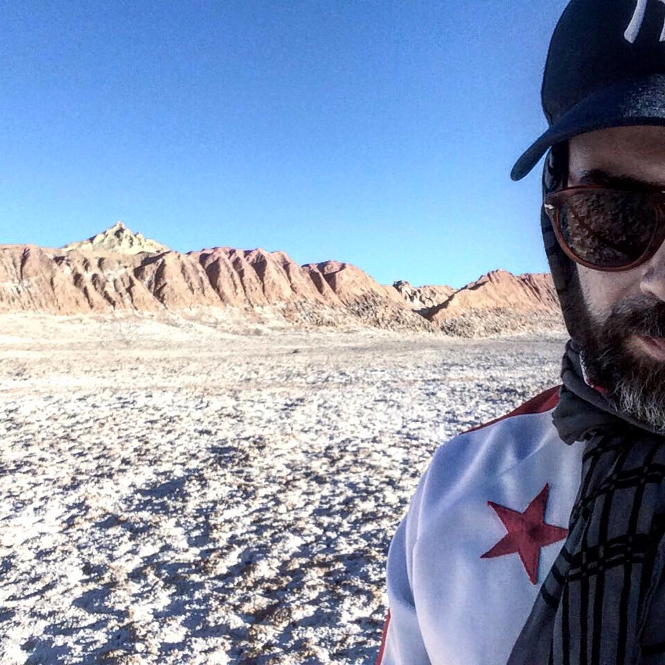"""Alexandre Mazza in Chile's Atacama desert during the filming of his video """"In the Desert, We are the Oasis,"""" 2016"""