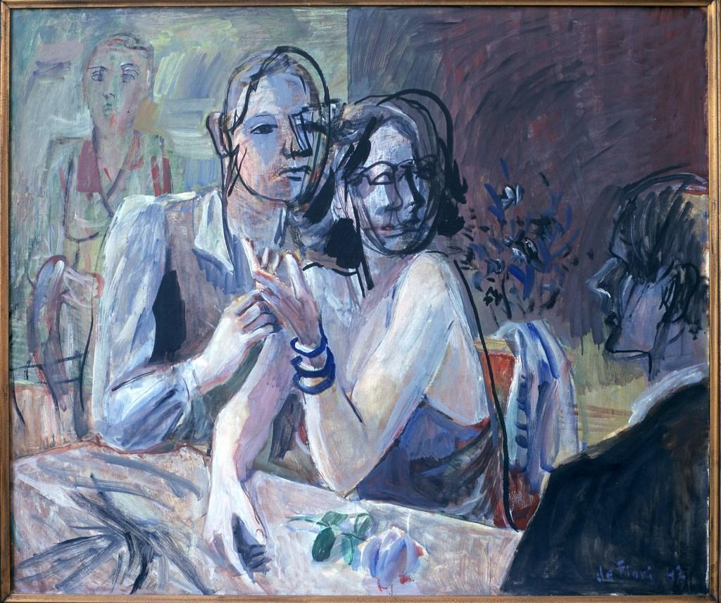 "De Fiore, ""Dinner,"" Gala series, 1942, oil on canvas, 88x108cm"