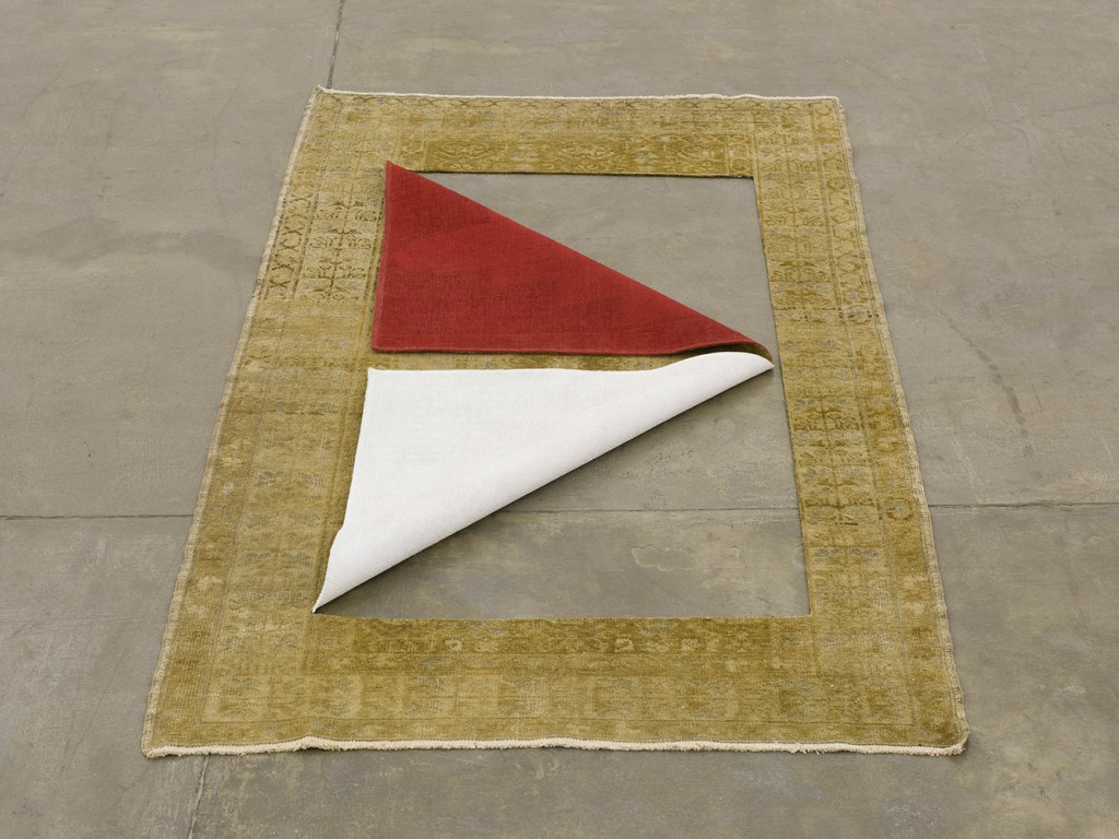 """Ground IV"", 2016, antique rug and acrylic/Photo: Eduardo Ortega"