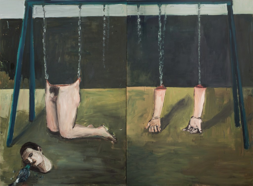 "Eduardo Berliner, ""Balanço""(Swing), 2016, oil on canvas on two MDF sheets, 275 x 372 cm. Courtesy Casa Triangulo"