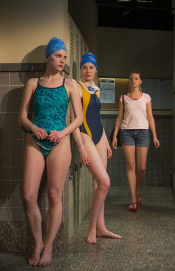 "Bryce Gangel, Jessica Ervin and Charlotte Thomas in ""Dry Land"" at Rivendell Ensemble Theatre/Photo: Michael Brosilow"