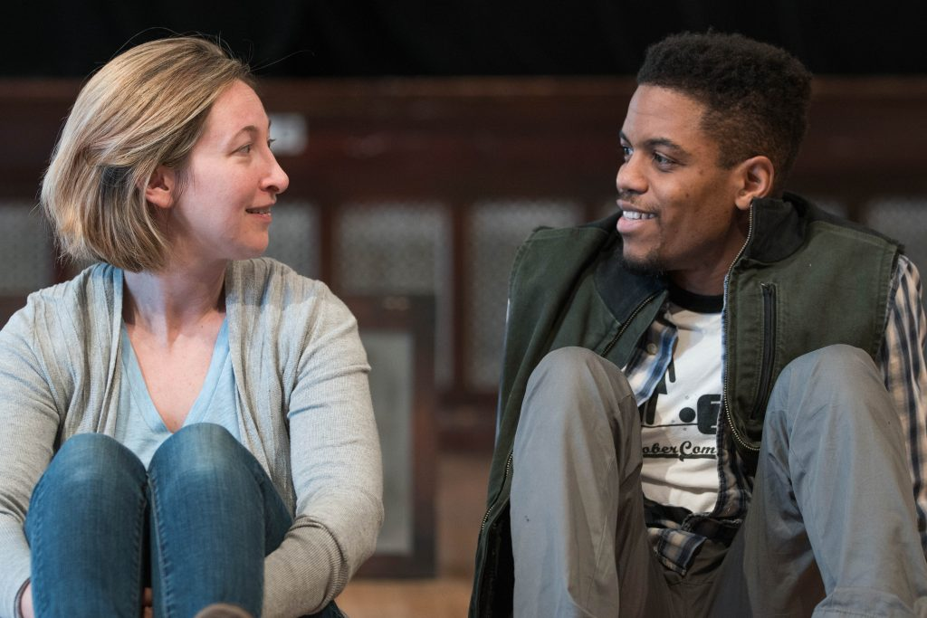 "Jessie Fisher and Jon Michael Hill in rehearsal for ""Constellations"" at Steppenwolf Theatre Company/Photo: Joel Moorman"
