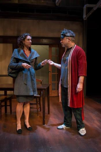 """Eleni Papageorge and Peter DeFaria in Jeff Daniels' """"Apartment 3A"""" at Windy City Playhouse/Photo: Michael Brosilow"""