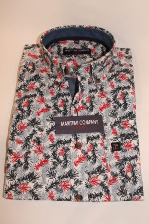 Marittimi Company print overhemd korte mouw