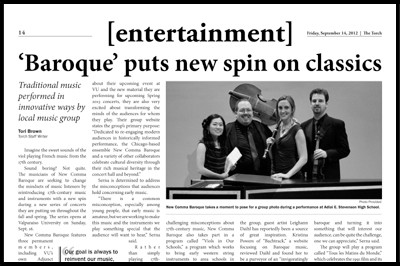 Valparaiso University's The Torch, September 14, 2012 - 'Baroque' Puts New Spin on Classics