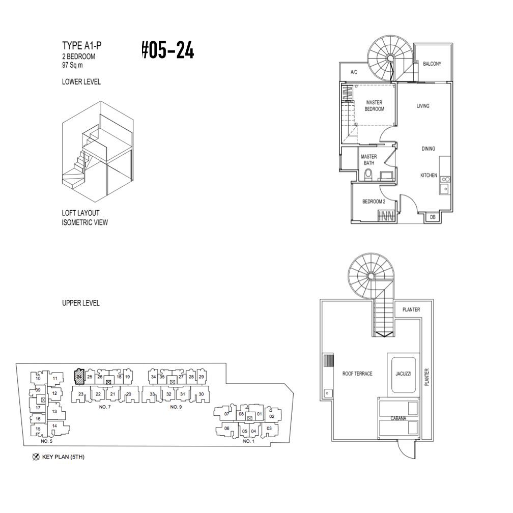 Condo Singapore - Jade Residences - Floor Plan Type A1-P Penthouse 2-Bedroom 05-24
