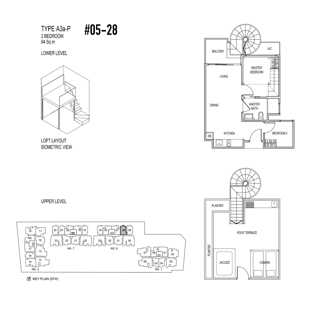 Condo Singapore - Jade Residences - Floor Plan Type A3a-P Penthouse 2-Bedroom 05-28