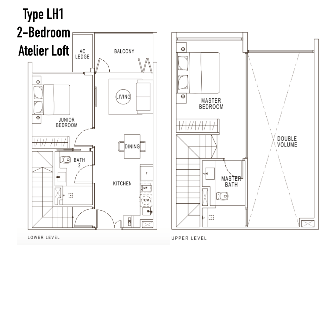 Condo Singapore - Pollen & Bleu - Floor Plan Type LH1 2-Bedroom Atelier Loft