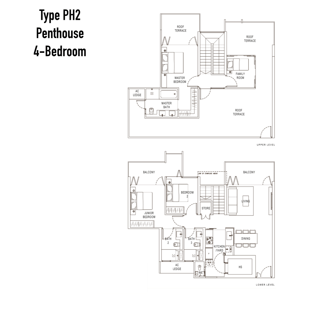 Condo Singapore - Pollen & Bleu - Floor Plan Type PH2 Penthouse 4-Bedroom