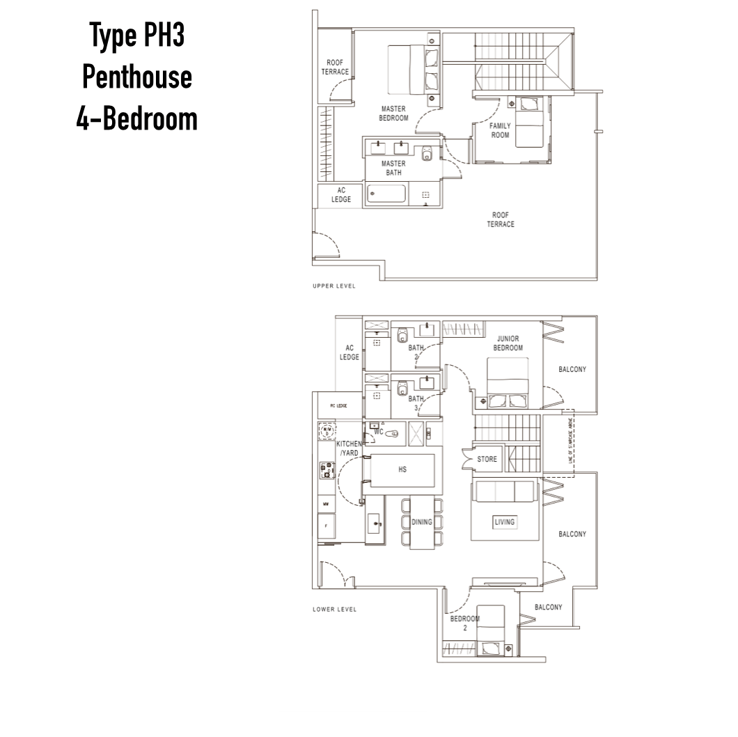 Condo Singapore - Pollen & Bleu - Floor Plan Type PH3 Penthouse 4-Bedroom