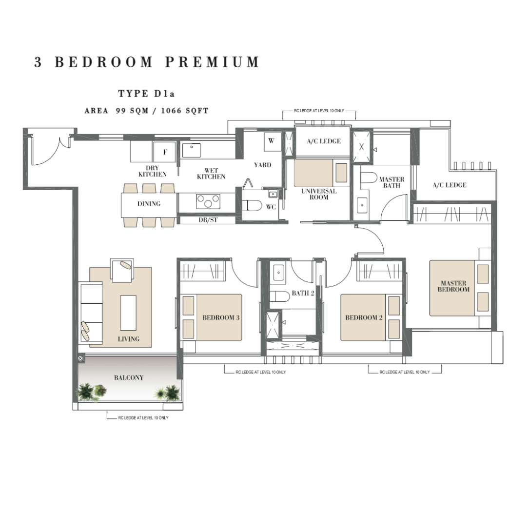 Condosingapore - Botanique @ Bartley - Floor Plan Type D1a 3-Bedroom Premium