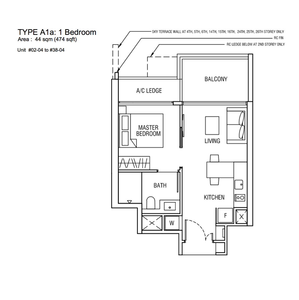 New Condo Launch - Alex Residences - Floor Plan Type A1a 1-Bedroom
