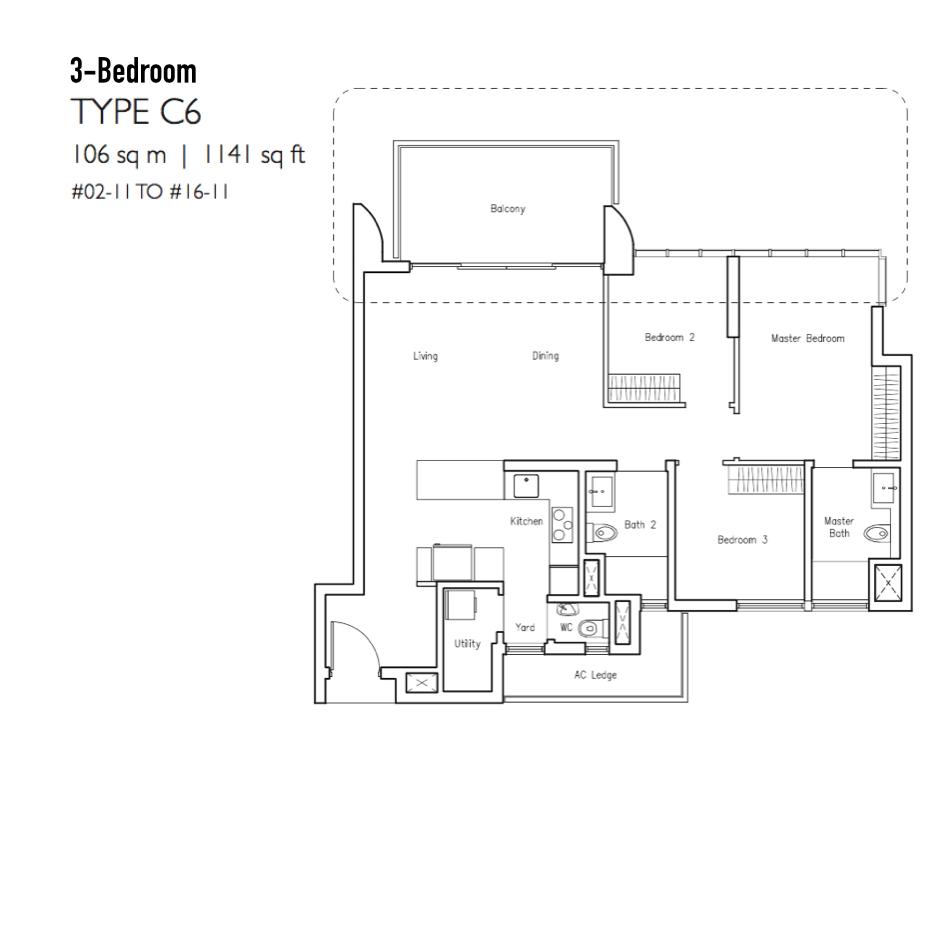 New Condo Launch - LakeVille - Floor Plan Type C6