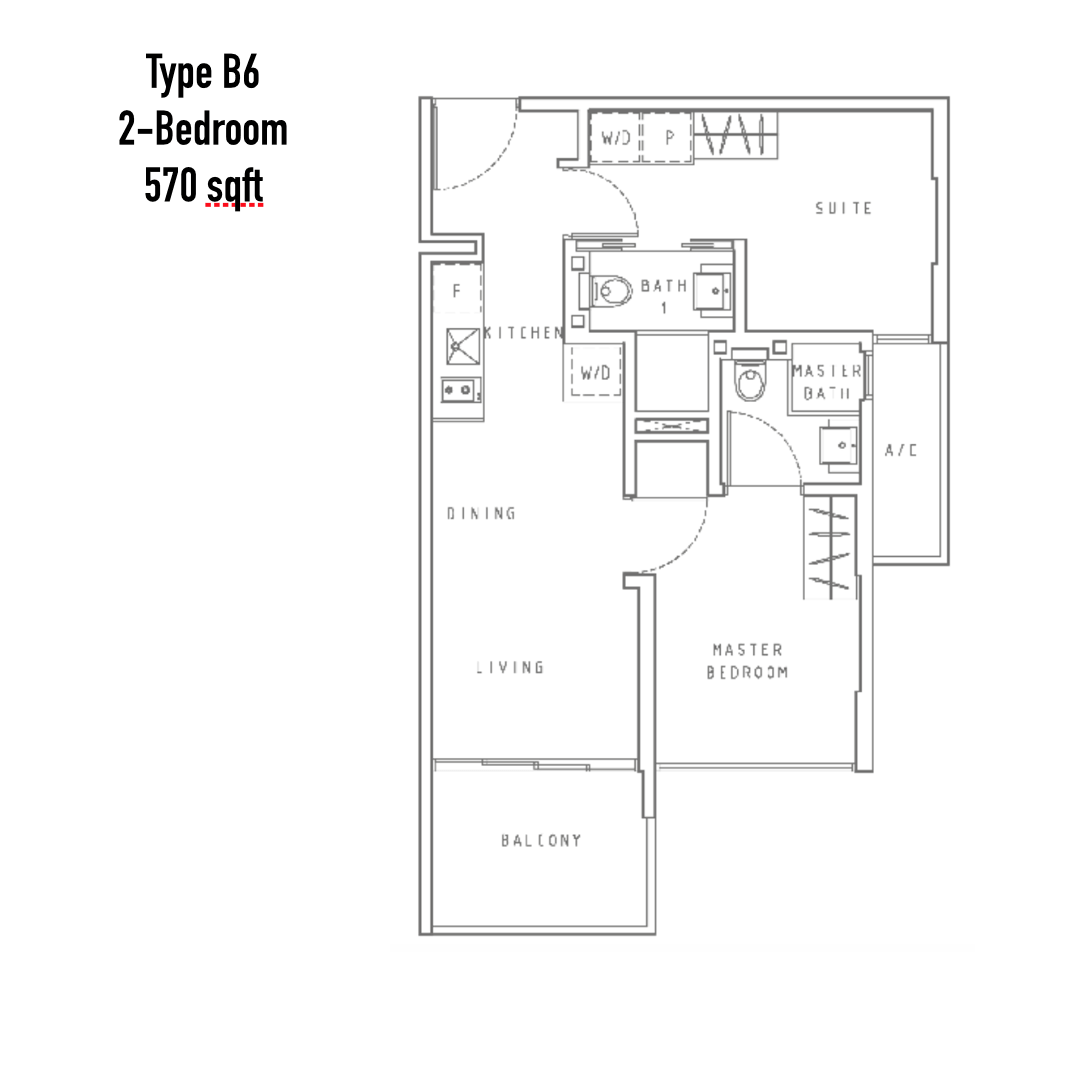 New Condo Launch - Liv On WIlkie - Floor Plan Type B6 2-Bedroom